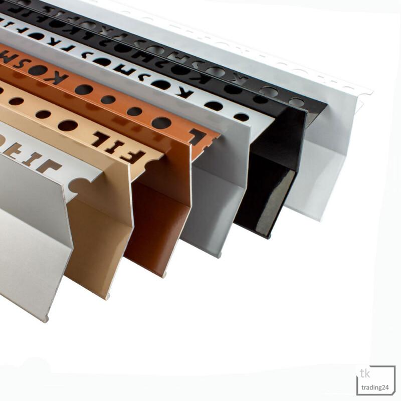 Alu L-Profil Balkon Terrasse abtropf Fliesenschiene Profil Schiene farbig L300cm 10mm weiss